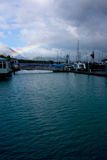 Rainbow Over Harbor Seward Alaska Royalty Free Stock Photography
