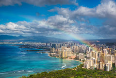 Rainbow over Hawaii skyline Royalty Free Stock Photo