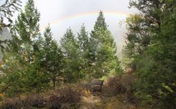 Rainbow over Hedley Viewpoint Bench Stock Photos