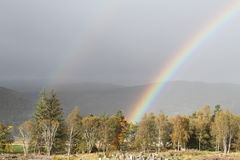 Rainbow over the Highlands of Scotland. This beautiful Rainbow shot over the highlands of Scotland Stock Photography