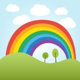 Rainbow over the hill. Illustration of rainbow over the hill with trees Royalty Free Stock Images
