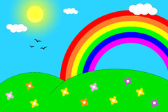 Rainbow over the hills Royalty Free Stock Photography