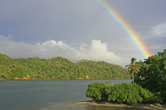 Rainbow over hills of Samana Royalty Free Stock Images