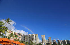 Rainbow over Honolulu Stock Photo