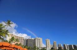 Rainbow over Honolulu Stock Photo