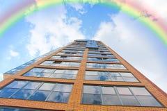 Rainbow over the house. Royalty Free Stock Photos