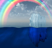 Rainbow over Iceberg in ocean Royalty Free Stock Photos