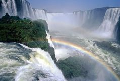 Rainbow over Iguazu Waterfalls,Brazil stock images
