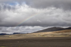 Rainbow. Over the inland wilderness of Iceland royalty free stock images