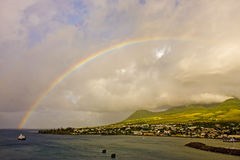 Rainbow Over Island Stock Photos