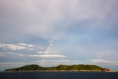 Rainbow over island.similan island,thailand Stock Photo