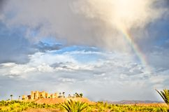 Rainbow over the Kasbah Stock Photo