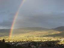 Rainbow over Kelowna Royalty Free Stock Photos