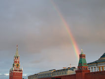 Rainbow. Over Kremlin in Moscow, Russia Stock Image