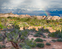 Rainbow Over La Sal Mountains, Arches National Park, UT Stock Photography