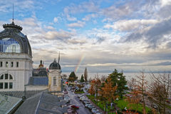 Rainbow over Lac Leman in  Evian-les-Bains in France in the New Royalty Free Stock Image