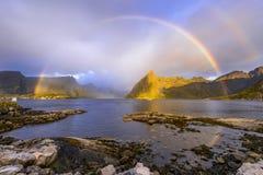 Rainbow over the lake at Lofoten Royalty Free Stock Photography
