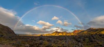 Rainbow over Landmannalaugar, Iceland Royalty Free Stock Photo