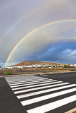 Rainbow over landscape in Lanzarote Royalty Free Stock Images