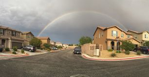 Rainbow over Las Vegas. After a storm a rainbow formed above Stock Image