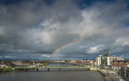 Rainbow over Limerick city Stock Image