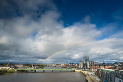 Rainbow over Limerick city Stock Photos