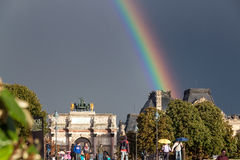 Rainbow over the Louvre Palace Stock Images