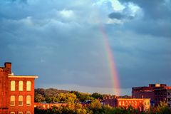 Rainbow over Lowell Royalty Free Stock Photography