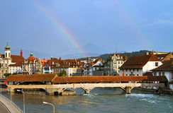 Rainbow over Lucerne Stock Images