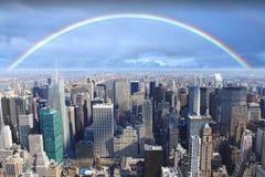 Rainbow over Manhattan New York. Rainbow over Manhattan skyline, New York City Royalty Free Stock Photography