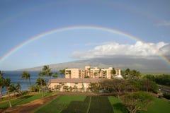 Rainbow over Maui Mts. Hawaii. Double rainbow over hotel and mountains in Maui, Hawaii Royalty Free Stock Photography