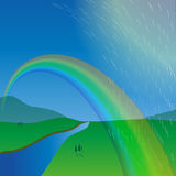 Rainbow over the meadow. The rain passes by. the river flows to the horizon. hills. the view from the height. vector illustration Royalty Free Stock Image