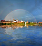 Rainbow over the Monastery. Stock Photos