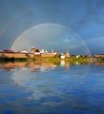 Rainbow over the Monastery. Stock Photos