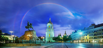 Rainbow over the Monastery Sophievsky Stock Images