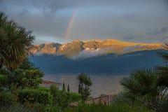 Rainbow over monte baldo mass, view through palm trees Stock Photos