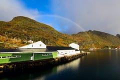 Rainbow over the mountain, Lofoten Islands, Norway Royalty Free Stock Photo
