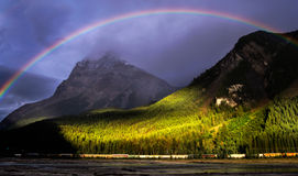 Rainbow over mountains Yoho National Park Royalty Free Stock Photography