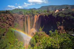 Rainbow Over Muddy Waterfalls in Ouzoud, Morocco Royalty Free Stock Images