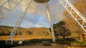 Rainbow over NASA research center. NASA research center in Canberra, Australia Stock Image
