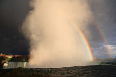 Rainbow over Niagara. A double rainbow covers Niagara before a storm Royalty Free Stock Images