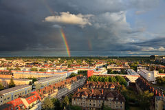 Rainbow over Niederrad, Frankfurt am Main Stock Images