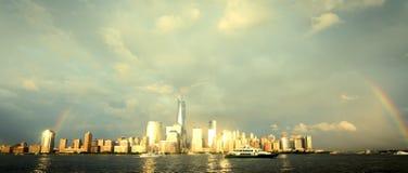 Rainbow Over NYC Stock Photography