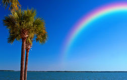 Rainbow over Ocean stock photography