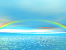 Rainbow over ocean. And blue sky. 3D rendered scene royalty free illustration