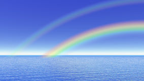 Rainbow over the ocean - 3D render