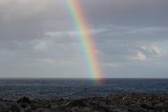Rainbow Over Ocean and Rocky beach. Spectacular rainbow over the ocean with cloudy skies and rocky beach. White birds in the sky Stock Photos
