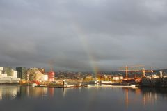 Rainbow over Oslo, Norway, with seaview Royalty Free Stock Images