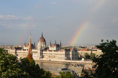 Rainbow over Parlament in Budapest with riverside Royalty Free Stock Photo