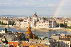 Rainbow over Parlament in Budapest with riverside Stock Images